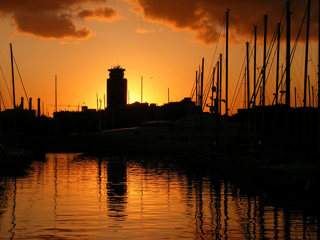 Barcelona Marina Sunset by David Spender